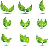 Φύλλο, φυτό, λογότυπο, οικολογία, άνθρωποι, wellness, πράσινο, φύλλα, σύνολο εικονιδίων συμβόλων φύσης των διανυσματικών σχεδίων Στοκ εικόνα με δικαίωμα ελεύθερης χρήσης