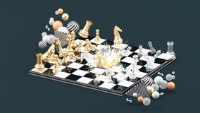 Φύσημα σκακιού μεταξύ των ζωηρόχρωμων σφαιρών στο γκρίζο υπόβαθρο απεικόνιση αποθεμάτων