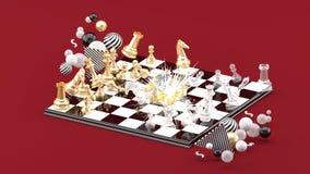 Φύσημα σκακιού μεταξύ των ζωηρόχρωμων σφαιρών στο κόκκινο υπόβαθρο ελεύθερη απεικόνιση δικαιώματος