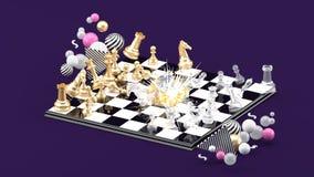 Φύσημα σκακιού μεταξύ των ζωηρόχρωμων σφαιρών στο πορφυρό υπόβαθρο απεικόνιση αποθεμάτων