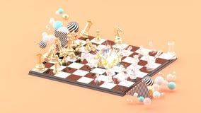 Φύσημα σκακιού μεταξύ των ζωηρόχρωμων σφαιρών στο ρόδινο υπόβαθρο διανυσματική απεικόνιση