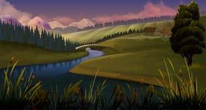 Φύση, βράδυ ποταμών τοπίων διανυσματική απεικόνιση