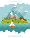 Φύση - διανυσματικοί επίπεδοι σύνολο εικονιδίων χρώματος και θερινός χρόνος απεικόνισης Στοκ φωτογραφία με δικαίωμα ελεύθερης χρήσης