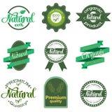 Φύση-οι ετικέτες και τα διακριτικά με τα πράσινα φύλλα Ετικέτες και διακριτικά για τα οργανικά, φυσικά, βιο και φιλικά προϊόντα e απεικόνιση αποθεμάτων