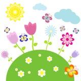 φύση λουλουδιών πεταλούδων ανασκόπησης επίσης corel σύρετε το διάνυσμα απεικόνισης Στοκ Εικόνες