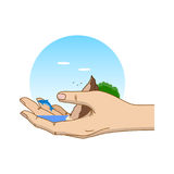Φύση στο ανθρώπινο χέρι Η έννοια της προστασίας του περιβάλλοντος Πρότυπο για το σχέδιό σας με το χέρι, ωκεανός, δελφίνι Στοκ εικόνες με δικαίωμα ελεύθερης χρήσης