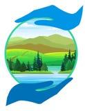 φύση χεριών καθαρός μας Απεικόνιση αποθεμάτων