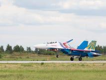 Φύτευση του ισχυρού στρατιωτικού μαχητή SU-27 Στοκ εικόνα με δικαίωμα ελεύθερης χρήσης