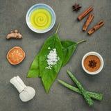 Φύλλα αβοκάντο με nature spa turmeric συστατικών, βοτανικό comp Στοκ Φωτογραφίες