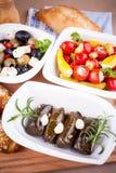Φύλλα αμπέλων που γεμίζονται με τα πιπέρια και το μεσογειακό antipasto Στοκ εικόνες με δικαίωμα ελεύθερης χρήσης