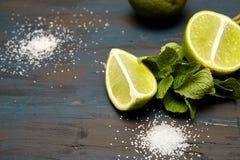 φύλλα, ζάχαρη και ασβέστης μεντών στοκ εικόνες
