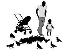 φύλλα πατέρων παιδιών φθινοπώρου Στοκ Φωτογραφίες