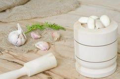 Φύλλα σκόρδου και μαϊντανού στον καμβά που απομονώνεται Στοκ εικόνες με δικαίωμα ελεύθερης χρήσης