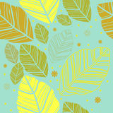 Φύλλα στο μπλε υπόβαθρο Στοκ Φωτογραφία