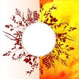 Φύλλα στο υπόβαθρο watercolor Στοκ Εικόνα