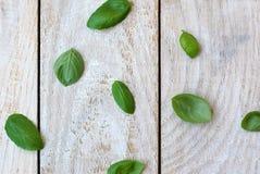 Φύλλα του βασιλικού στο ξύλινο υπόβαθρο Στοκ εικόνα με δικαίωμα ελεύθερης χρήσης