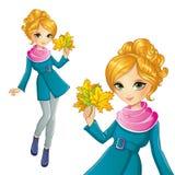 Φύλλα φθινοπώρου λαβής κοριτσιών ελεύθερη απεικόνιση δικαιώματος