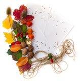 Φύλλα φθινοπώρου και καρύδια, έγγραφο για τις σημειώσεις. Στοκ Εικόνες