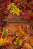 Φύλλα φθινοπώρου στον ξύλινο πίνακα Στοκ φωτογραφία με δικαίωμα ελεύθερης χρήσης