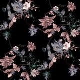 Φύλλο ζωγραφικής Watercolor και λουλούδια, άνευ ραφής σχέδιο στο σκοτεινό υπόβαθρο απεικόνιση αποθεμάτων