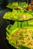 Φύλλο μπανανών στο δίσκο στοκ φωτογραφία με δικαίωμα ελεύθερης χρήσης