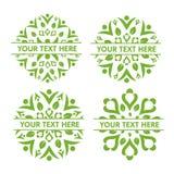 Φύλλο που διακοσμεί το σύνολο λογότυπων Στοκ Εικόνες