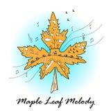 Φύλλο σφενδάμου που διακοσμείται στη διάθεση φθινοπώρου Τυπωμένη ύλη μελωδίας φύλλων σφενδάμου Τυπωμένη ύλη μπλουζών Στοκ Φωτογραφία