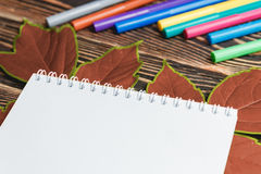 Φύλλο φθινοπώρου με το κενό φύλλο στον ξύλινο πίνακα Στοκ Φωτογραφία