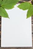 Φύλλο φθινοπώρου με το κενό φύλλο στον ξύλινο πίνακα Στοκ εικόνες με δικαίωμα ελεύθερης χρήσης