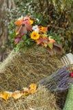 Φύλλωμα φθινοπώρου με τα decotative πορτοκαλιά λουλούδια στη θυμωνιά χόρτου Στοκ Εικόνα