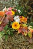 Φύλλωμα φθινοπώρου με τα decotative πορτοκαλιά λουλούδια στη θυμωνιά χόρτου Στοκ Εικόνες