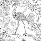 Φλαμίγκο στον κήπο λουλουδιών φαντασίας Στοκ φωτογραφία με δικαίωμα ελεύθερης χρήσης