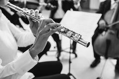 Φλαουτίστας που παίζει το όργανό της στη σκηνή στοκ φωτογραφίες με δικαίωμα ελεύθερης χρήσης
