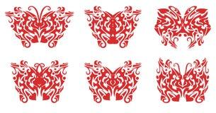 Φλεμένος σύνολο πεταλούδων Στοκ Φωτογραφία