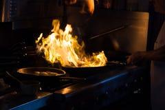 Φλεμένος τηγάνι Στοκ Φωτογραφίες