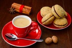 Φλιτζάνι του καφέ και μπισκότα Στοκ Εικόνα