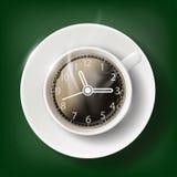 Φλιτζάνι του καφέ με ένα πρόσωπο ρολογιών Στοκ Εικόνες