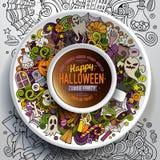 Φλιτζάνι του καφέ με αποκριές doodles απεικόνιση αποθεμάτων