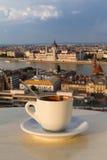 Φλιτζάνι του καφέ με μια άποψη του κτηρίου των Κοινοβουλίων στη Βουδαπέστη Στοκ Φωτογραφία