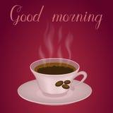 Φλιτζάνι του καφέ με τη καλημέρα κειμένων Στοκ Φωτογραφίες