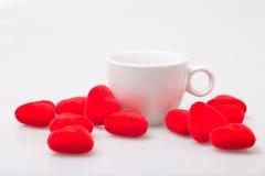 Φλιτζάνι του καφέ με το βαλεντίνο Στοκ Φωτογραφίες