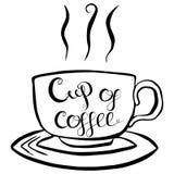 Φλιτζάνι του καφέ που γράφει τη διανυσματική απεικόνιση Στοκ εικόνα με δικαίωμα ελεύθερης χρήσης