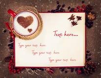 Φλιτζάνι του καφέ στη κάρτα Χριστουγέννων Στοκ Εικόνες