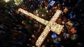 Φλογερός σταυρός με τα βάζα του μελιού Στοκ εικόνα με δικαίωμα ελεύθερης χρήσης