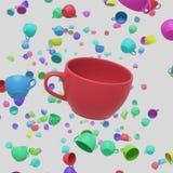 Φλυτζάνια ενός κόκκινα καφέ που επιπλέουν στο άσπρο διάστημα με ένα υπόβαθρο των χρωματισμένων φλυτζανιών απεικόνιση αποθεμάτων