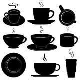 Φλυτζάνια καφέ καθορισμένα διανυσματικά Στοκ εικόνες με δικαίωμα ελεύθερης χρήσης