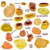 Φλυτζάνια καφέ και γλυκά κέικ και macaroons καθορισμένα Απεικόνιση αποθεμάτων