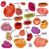 Φλυτζάνια καφέ και γλυκά κέικ και macaroons καθορισμένα ελεύθερη απεικόνιση δικαιώματος