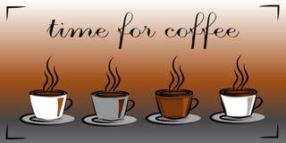 Φλυτζάνια με τον καυτό καφέ Χρόνος για τον καφέ Έννοια διανυσματική απεικόνιση