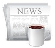 Φλυτζάνι εφημερίδων και καφέ. ελεύθερη απεικόνιση δικαιώματος
